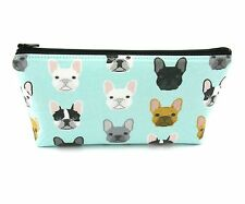 French Bulldog on Mint Cosmetic Bag, Zip Pouch, Makeup Bag, Pencil Case