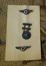 3 Vintage US Air Force Enamel Pins Observer Center Wings 750 Hours Merit GOC