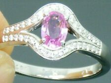 18ct Gold  Pink Sapphire  and Diamond Hallmarked Engagement Ring size M