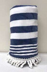 "NEW Pottery Barn KIDS Navy Stripe Tassel UPF 50+ Beach Pool Towel~32x64""~NO MONO"