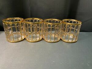 "Set of 4 ~ Imperial Glass Sortijas De Oro ""SPANISH WINDOWS"" Double Old Fashioned"