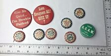 LOT Vintage Buttons Watch your step,Wink And I'll Do The Rest, LOVE & MORE