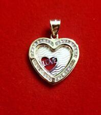 10k Solid Tri-Color Gold Love Heart Charm Cubic Zirconia Pendant
