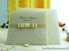 partecipazioni nozze inviti matrimonio con fiocco e tasca