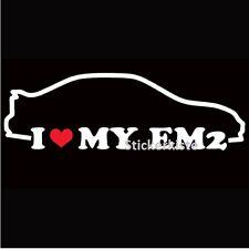 2 Aufkleber I love Em2 Honda Civic OEM Auto Sticker Decal 17 cm Tuning JDM