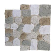 Bath Rug Set 100% Cotton Bathroom Bath Mat Set Bathmat Floor SPA Pebbles 2-Pcs