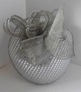 Silver Grey Sequined Fascinator with Hessian Style Flower - Bow Centre
