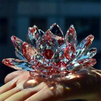 LARGE DARK MAROOM/ RED CRYSTAL LOTUS FLOWER ORNAMENT LARGE CRYSTOCRAFT HOME DECO