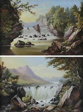 Thomas Burras from Leeds British Artist - Pair Landscapes Oil Paintings c1882