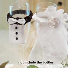 Supplies Wine Glasses Decor  Bridal Veil Bow Tie Wedding Favors Bride & Groom