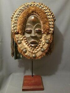 Outstanding Dan Mask on Custom Wood Base, Iron Frame. Liberia
