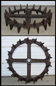"Vintage Industrial LG 20"" Cast Iron Diamond Gear Wheel Steampunk Art Table Base"