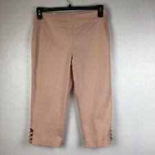 JM Collection Lattice-Hem Capri Pants Coral Petite Medium