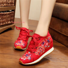 New Womens Chinese Folk Embroidered Flat Shoes Lace Up Floral Cloth Shoes Casual