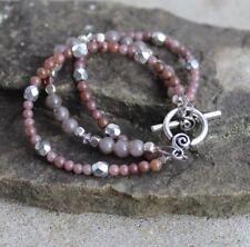Purple Multi Stone Silver Beaded Triple Bracelet with Toggle Clasp
