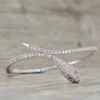 1.45cts Diamond Snake Head Bangle Bracelet in14k White Gold Over Sterling Silver