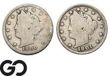1900 & 1901 Liberty Nickel, V Nickel