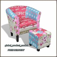 Patchwork Armchair With Stool Fabric Retro Vintage Sofa Tub Chair and Footstool