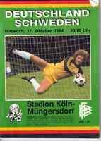 Fussball-Programmheft   1984    Länderspiel    Deutschland - Schweden