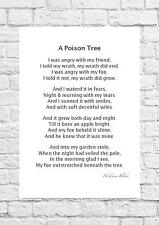 William Blake-un veneno Árbol-Inspiring Poema-A4 tamaño