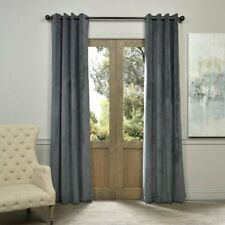 "Exclusive Fabrics Natural Grey Grommet Velvet Blackout Curtain Panel 120x50"""
