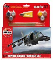 AIRFIX 1:72 HAWKER SIDDELEY HARRIER GR.1 MODEL AIRCRAFT KIT STARTER SET A55205