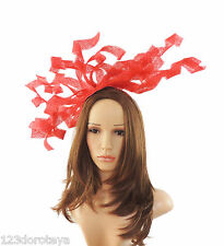 Red Fascinator for Ascot, Weddings, Proms, Derby, Formal Events M5