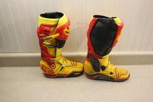 Fox Racing Instinct Boots Size 9 Yellow & Red Dirt Bike MX ATV Boots 7437
