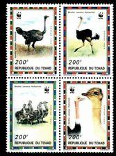 SELLOS TEMA WWF TCHAD 1996 Nº 649/52 AVES AVESTRUZ  4v.
