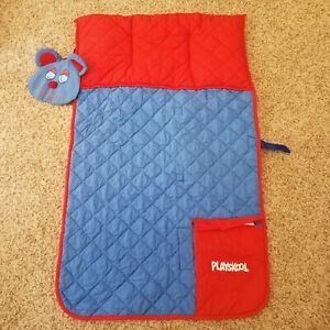 VTG 1986 Playskool Preschool Nap Pals Pack Sleeping Mat Backpack Blue & Red Bear