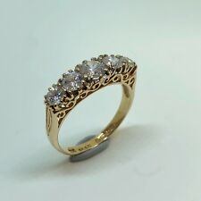 Synthetic White Stone (Cubic Zirconia) in Filigree 9k Yellow Gold Ring - Size L