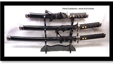 Set of 3 High Quality Black Samurai Katana Swords - Thick Blade Metal Scabbard