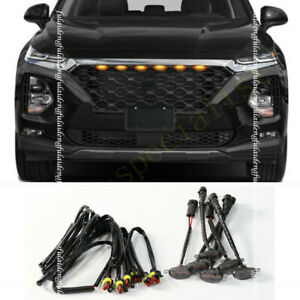 For Hyundai Santa Fe 19-21 Smoke Front Grille LED Light Raptor Style Grill Cover