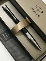 PARKER URBAN BLACK LACQUER CHROME TRIM BALLPOINT PEN-GIFT BOX-NEW OLD STOCK.