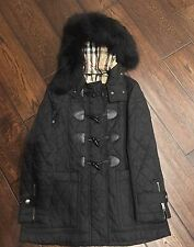 BNWT BURBERRY BRIT Black Duffle Quilt Coat Jacket/Real Fur Trim Size S Women's