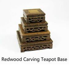 Redwood Carving Teapot Base Oriental Pedestal Square Flower Pot Vase Adorn Retro