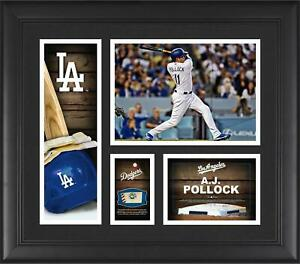 A.J. Pollock Los Angeles Dodgers Frmd 15 x 17 Player Collage & Piece of GU Ball