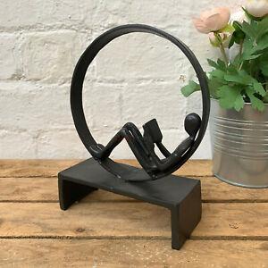 Cast Iron Indoor Man Reading In Circle Decorative Display Figurine Shelf Sitter