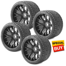 Sweep Racing SRC Monster Truck Road Crusher Belted Tire Black Wheel (4Pcs) Set