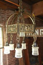 STATELY HEAVY  BRONZE CHANDELIER WITH GLASS SHADE PENDANTS