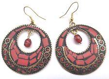 Bohocoho ECCENTRICO Stile Boho Gypsy 70s Rosso Mosaico Cerchio Dangle Earrings