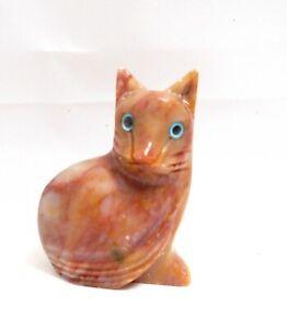 chat en stéatite miniature de collection, cat, poes,chat en pierre   TP12-04
