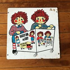 Vintage Raggedy Ann and Andy Thick Plywood Picture or Other Use – 15.5 x 15.5 in