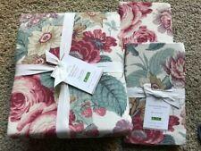 POTTERY BARN Elia Reversible Floral/Stripe KING Duvet & 2 EURO Shams - NEW