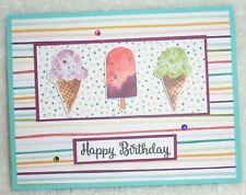 Stampin Up! Card Kit Happy Birthday Sweet Ice Cream Corner Dsp Popsicle Bling