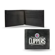 LA Clippers NBA Embroidered Black Leather Bi-fold Wallet