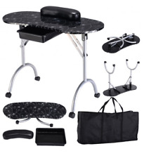 Portable Black SPA Beauty Salon Manicure Nail Station Desk Table w/ Wheels & Bag