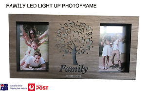 Family LED Boxed Double Photo Frame Freestanding or Hang Photoframe 6 x 4