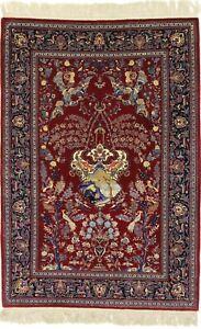 Kashean Part Silk On Silk Fine Persian Carpet Oriental Rug 1,99 X 1,36