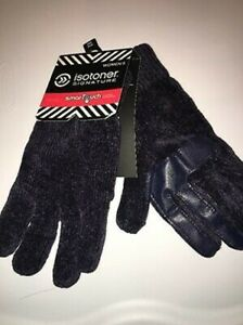 NWT WOMENS ISOTONER SMARTOUCH TOUCHSCREEN FRIENDLY GLOVES - BLACK 1 SZ FITS MOST